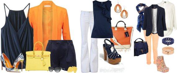 Темно-синий в одежде сочетается с оранжевым