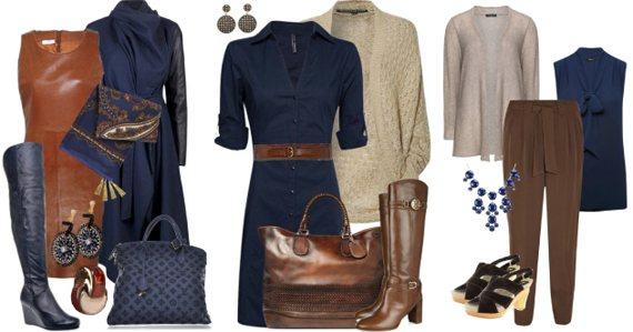 Темно-синий в одежде сочетается с серым и черным