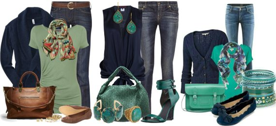 Темно-синий в одежде сочетается с зеленым