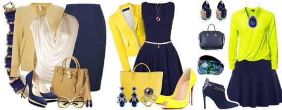 Темно-синий в одежде сочетается с желтым
