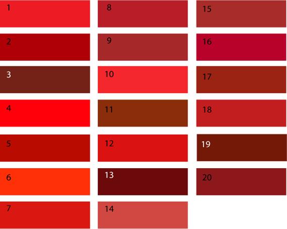 Теплые оттенки красного