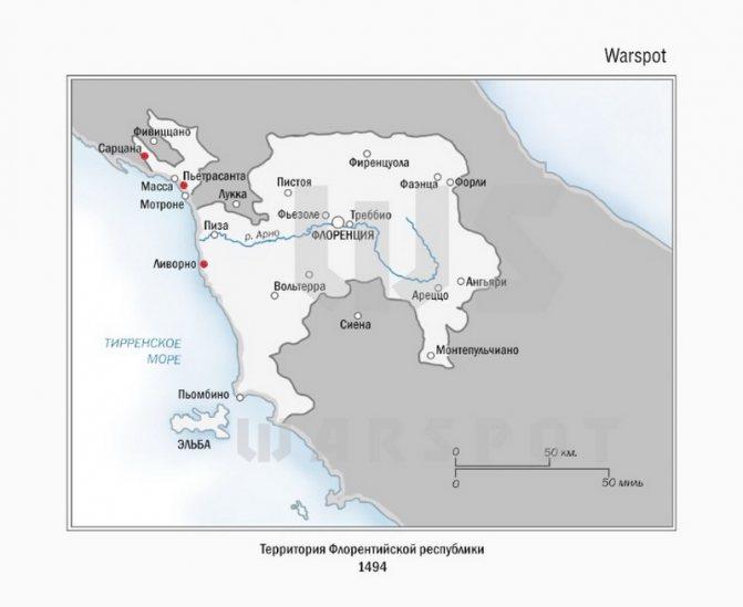 Территория Флорентийской республики в 1494 году. Красными точками помечены города и крепости, переданные Карлу VIII по договору - Французская лилия на гербе Флоренции | Warspot.ru