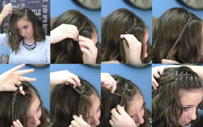 Тонкая коса-ободок, как плести пошагово