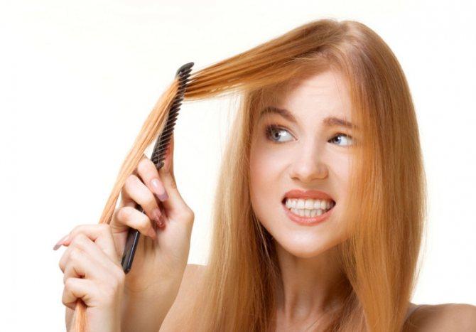 Тонкие волосы у девушки