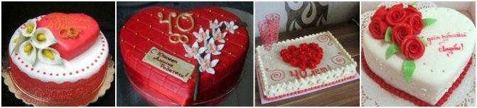 Торты на свадьбу к рубиновой годовщине