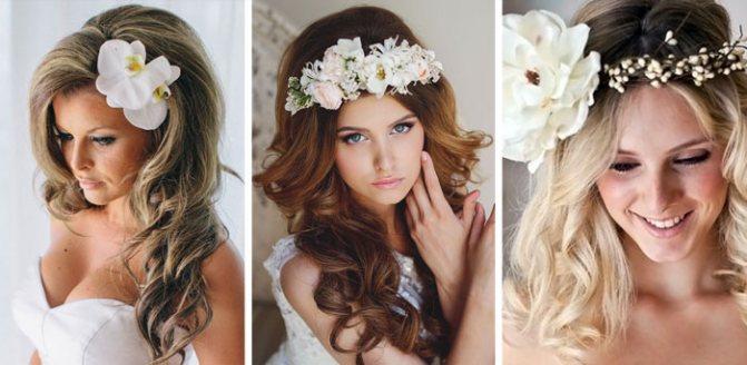 Укладка на свадьбу с локонами и цветами