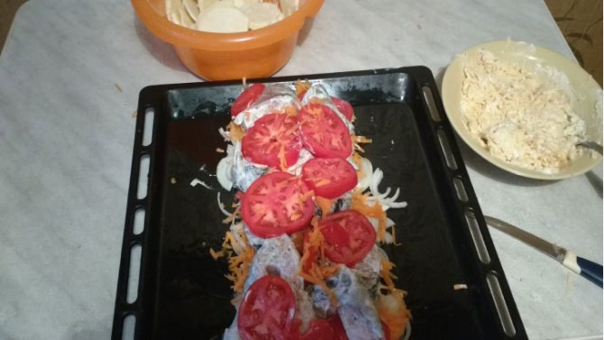 укладываем помидоры на рыбу