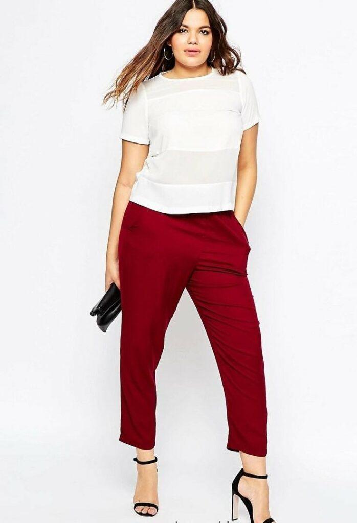 Укороченные брюки для полных девушек