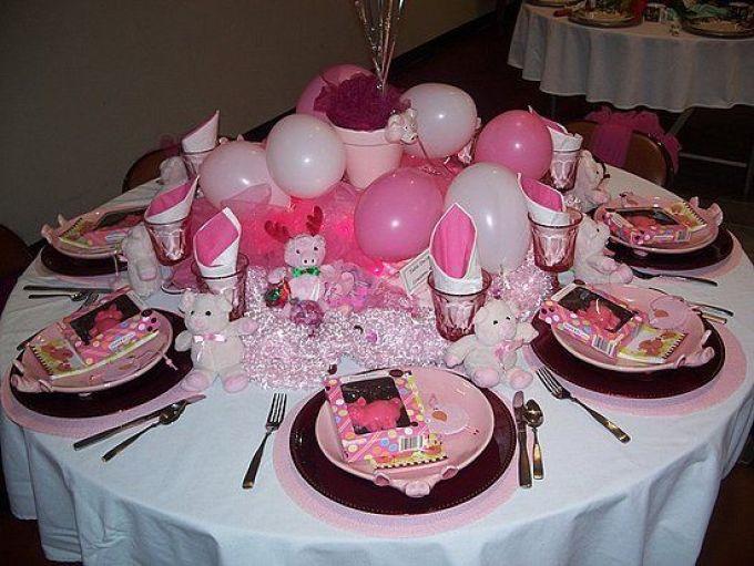 Украшение детского именинного стола воздушными шарами.