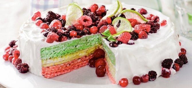 Вафельный торт с вкусным кремом из творога и ягод