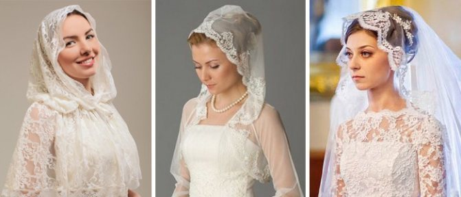 Варианты крепления венчального платка