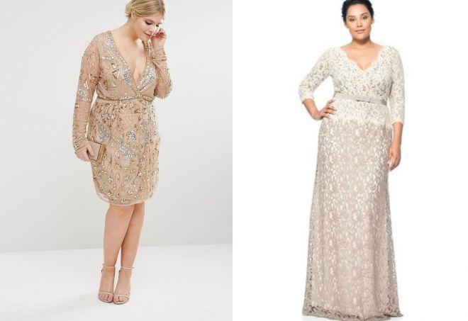 вечернее платье на свадьбу для полных женщин