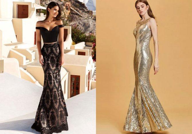 Вечернее платье рыбка 2020 года