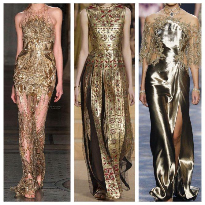 вечерние золотые платья с подиумов