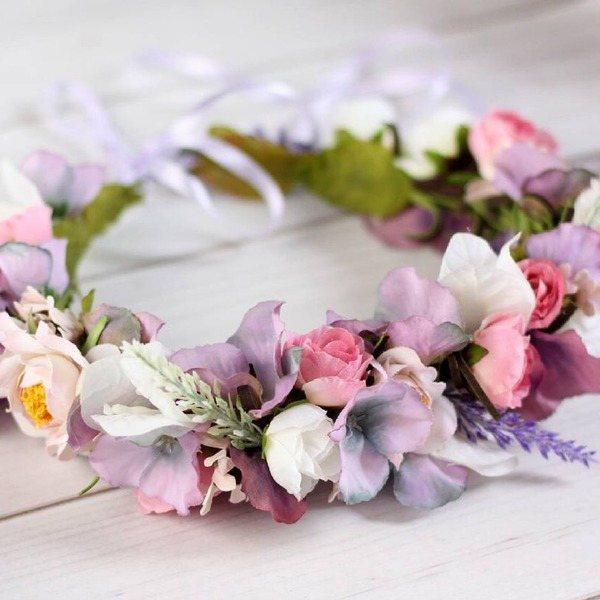 венок из цветок на прически на свадьбу