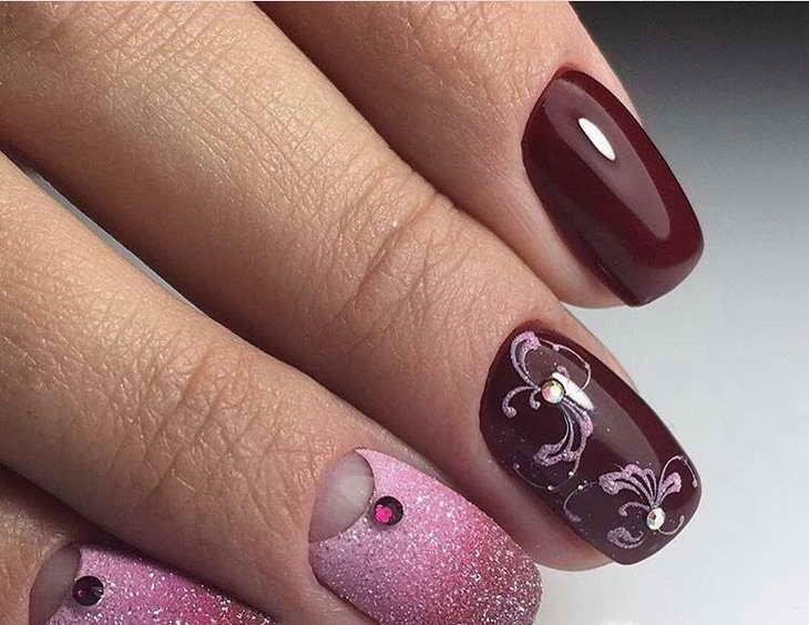 вишневый маникюр очень красивый