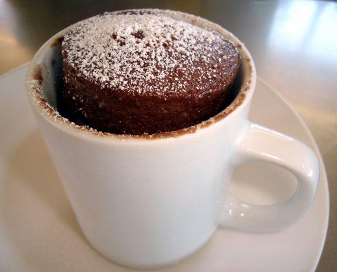 Вкусный десерт за 5 минут: быстрый шоколадный кекс в микроволновке