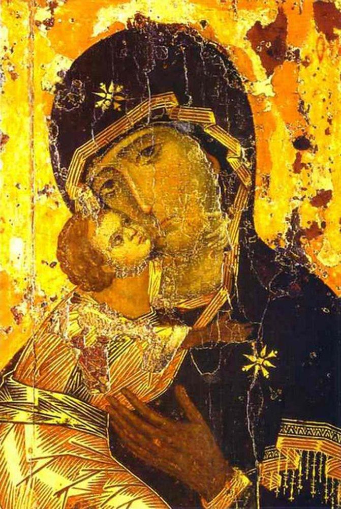 «Владимирская икона Божией Матери» — наиболее почитаемое изображение Богоматери на Руси. Византия. XII век. Источник: wikimedia.org