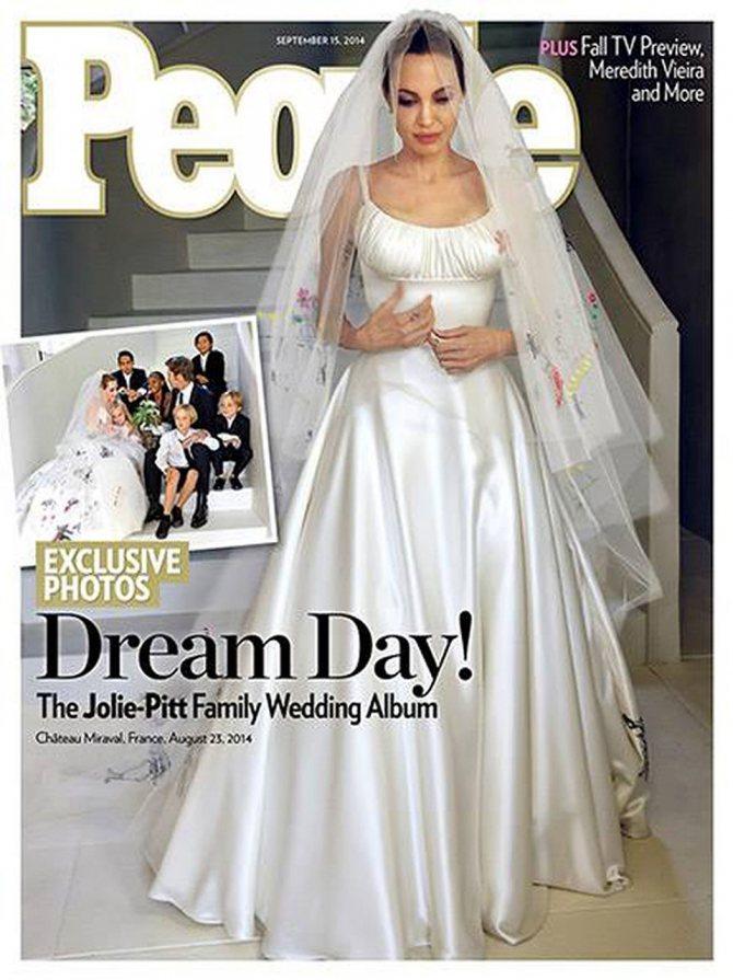 Вместе с модельером Луиджи Масси над платьем трудились и все дети звёздной пары - Мэддокс, Пэкс, Захара, Шайло, Вивьен и Нокс.