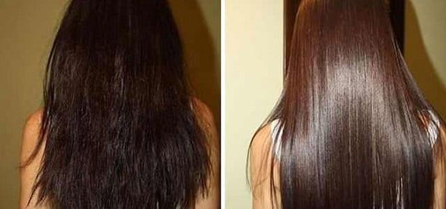 Волосы до и после применения масла
