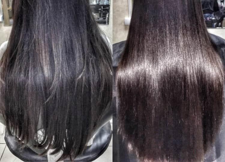 Волосы приобретают здоровый блеск, становятся более гладкими.