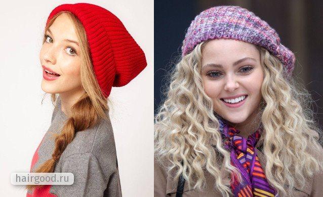 Волосы средней длины под шапкой