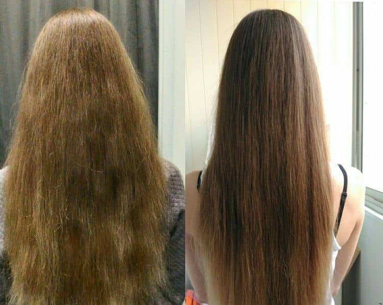 Вот так выглядят волосы после процедуры с кератином в домашних условиях.