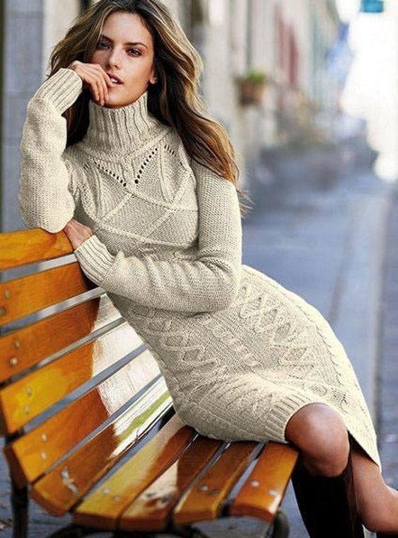 Вязаное платье для осени