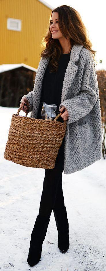 вязаное зимнее полупальто
