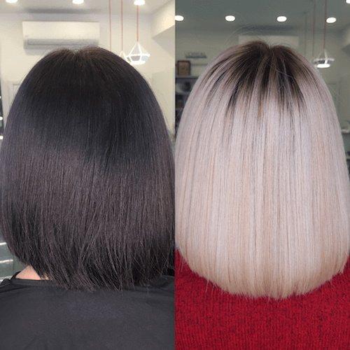 Выход из черного цвета волос. Фото до и после с помощью мелирования, осветлителя, смывки, шатуш в блонд