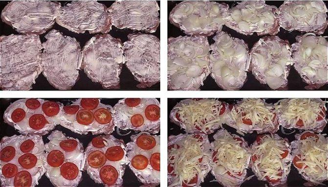 Выкладываем мясо на противень, смазываем майонезом, кладем лук, помидоры и сыр
