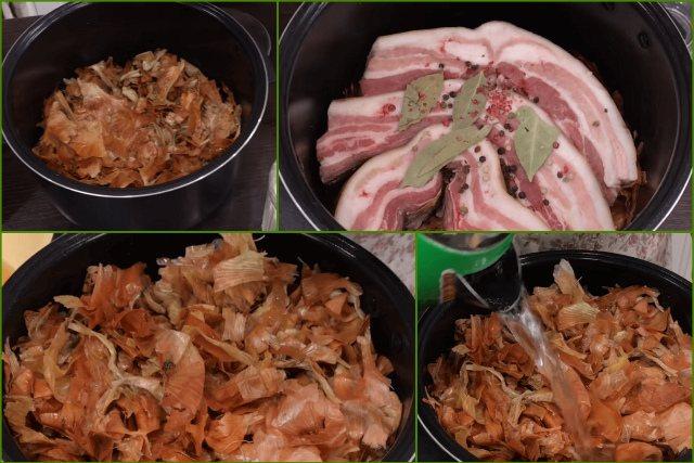 Выкладываем шелуху и сало со специями в кастрюлю