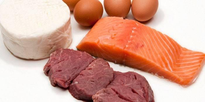 Яйца, сыр, семга и говядина