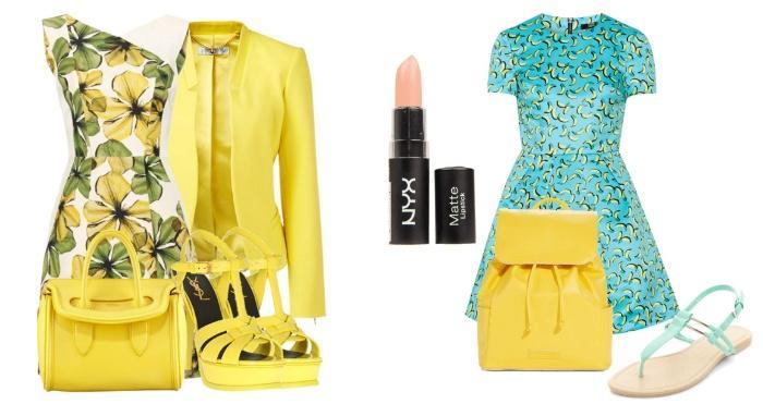 Яркие образы с желтой сумкой