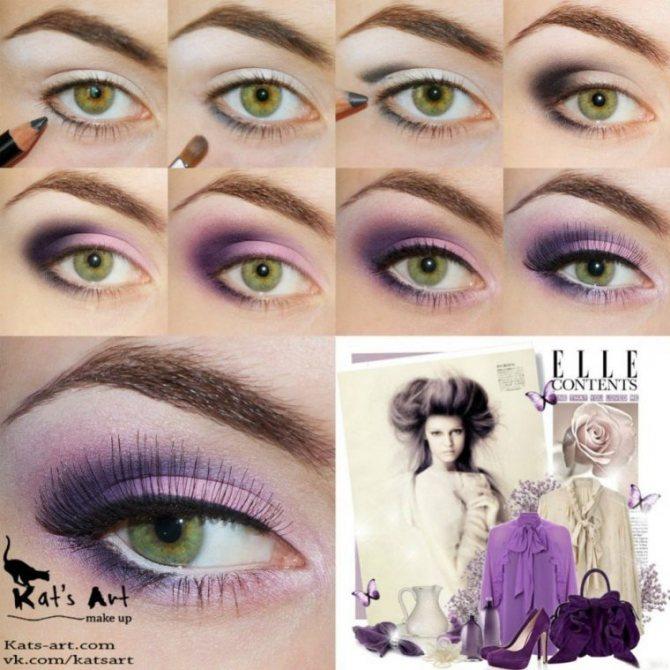Яркий фиолетовый макияж