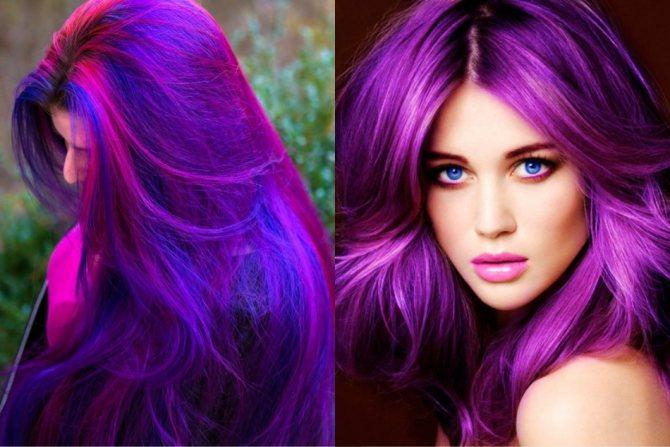 Яркий фиолетовый на длинных темных локонах