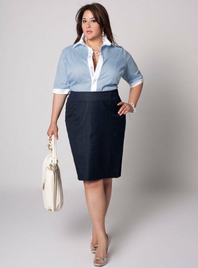 Юбка и блуза в деловом стиле для полных
