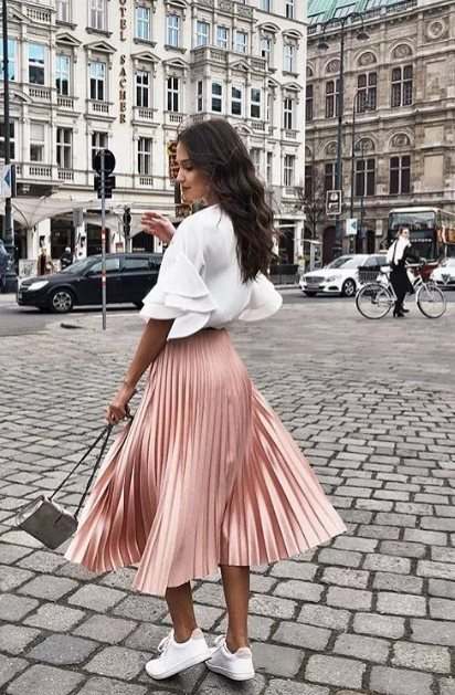 юбка миди розовая