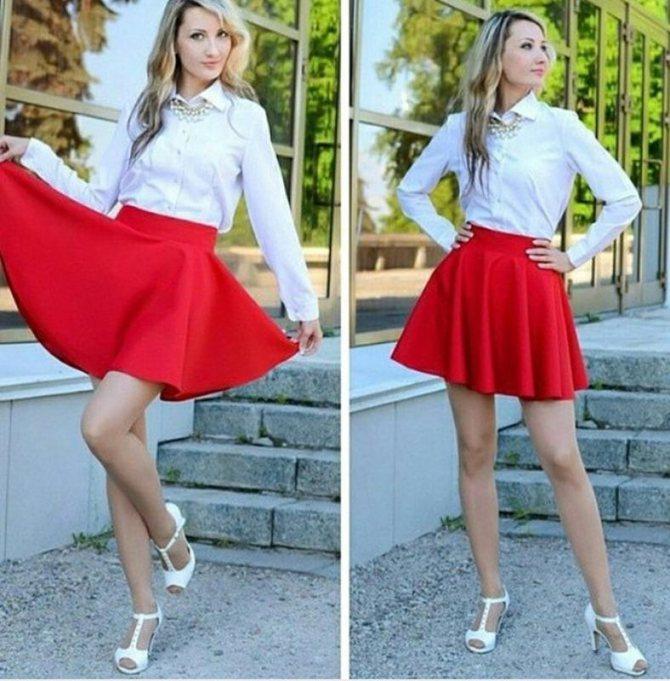 юбка полусолнце красная