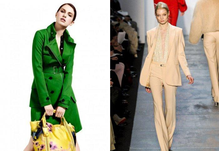 Зеленое пальто с бежевым костюмом