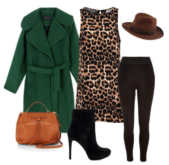 Зеленое пальто с леопардовой кофтой