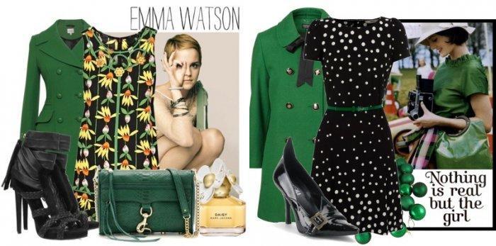 Зеленое пальто с зелеными деталями гардероба