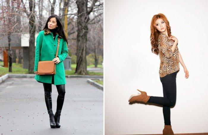Зеленое пальто в сочетании с леопардовой водолазкой