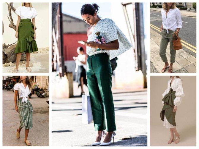 зеленый с белым сочетания фото