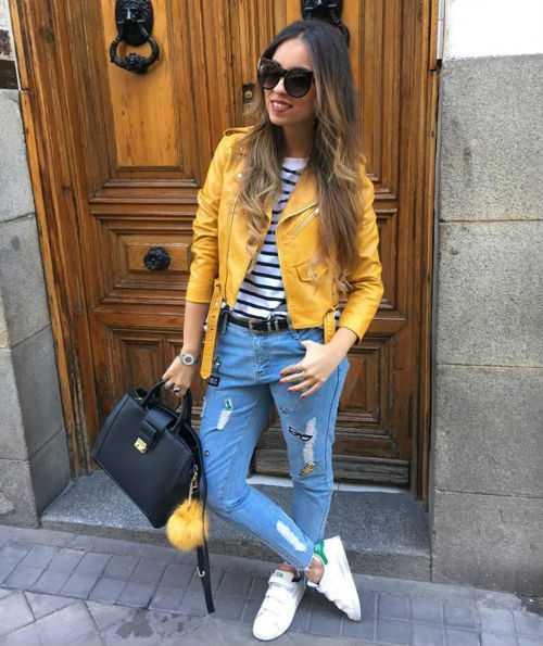 желтая куртка с чем носить