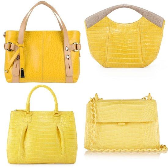 Желтая сумка: стили, виды, как и с чем носить - Желтые сумки из крокодиловой кожи