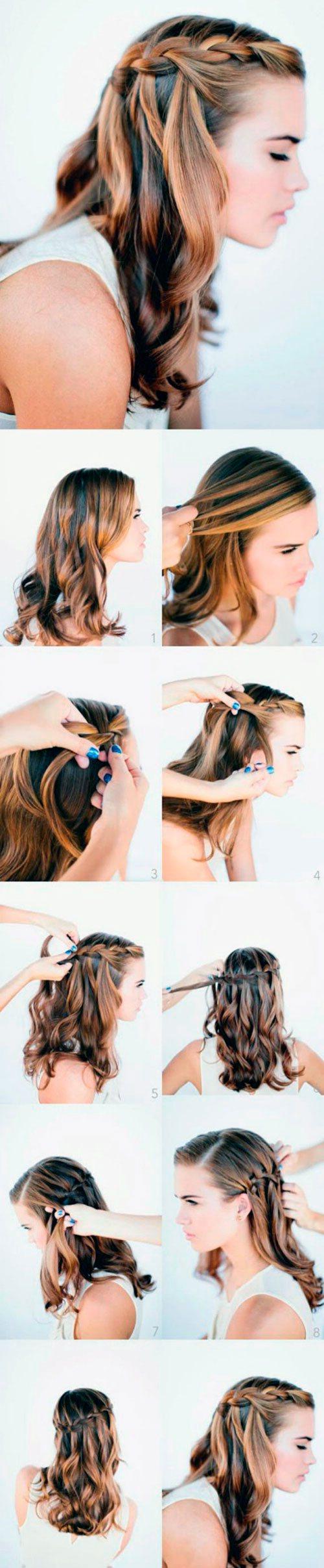 Женская прическа за 5 минут каскадная коса