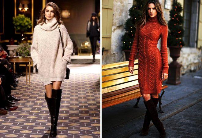 женские вязаные свитера платья