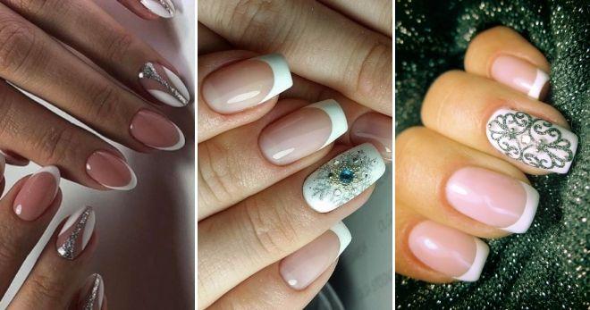 Зимний дизайн френч на длинные ногти блестящий