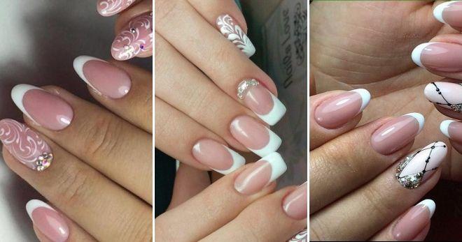 Зимний дизайн френч на длинные ногти классика